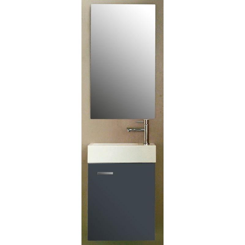 Pack Meuble de toilette Salerno gris brillant