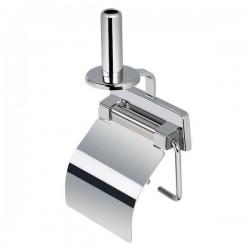 GEESA Porte-papier rouleau avec couvercle brillant d'acier inoxydable et porte-papier rouleau de réserve