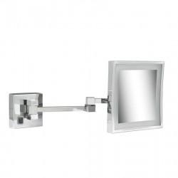 GEESA Miroir à barbe, 205x205 mm, LED illumination, 3x grossisant, double bras