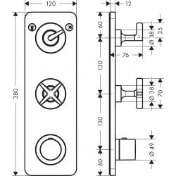 Axor Hansgrohe Citterio E module TH SF 38x12 2 cons