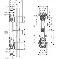 Axor Hansgrohe Citterio E module TH enc.38x12 3 cons