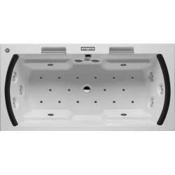 RIHO Lisa 180x90/blanc poignée /noir/LED blanc
