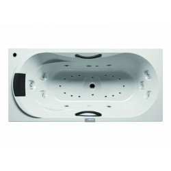 RIHO Dana 190x90 Blanche  commande électronique 7 touches  éclairage blanc gauche