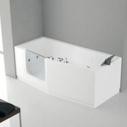 Novellini  iris baignoire à porte  160x70 droite whirpool avec télécommande touch screen avec robinetterie sur la baignoire bla