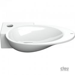 clou First vasque lave-mains avec trou pour robinet et bonde libre, à gauche, céramique blanche