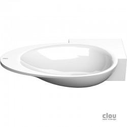 clou First vasque lave-mains avec 1 point d'amorçage et bonde libre, à droite, marbre minéral