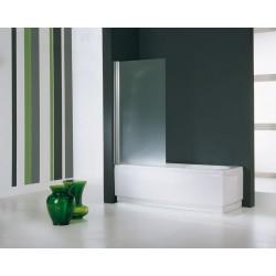 Novellini  aurora 1 paroi pivotante pour baignoire 80x150 cm verre trempe transparent  blanc 030