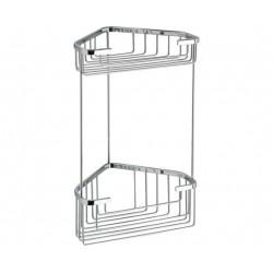 Gedy double corbeille d'angle en fil 20x15x32.8 cm - Chrome étagère de douch