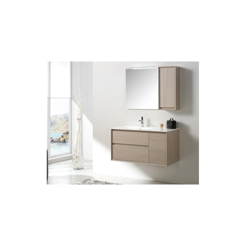 meuble deux tiroirs et une porte soft close l100xh52xp51 cm couleur natural vasque dcentre vers la gauche de 100 cm en marmolite miroir cleo de 70x70 cm