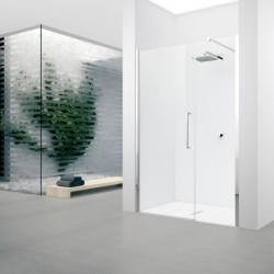 Novellini  young 2 gfl 117 dimension extensible de  117-121cm vitrage satin  profilé blanc/profilé chrome