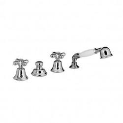 PONSI Viareggio Melangeur baignoire 4 trous  à monter sur le bain avec douchette à main et flexible nickel natural
