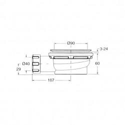 PONSI Siphon de 90 mm 60 mm de hauteur pour receveur de douche