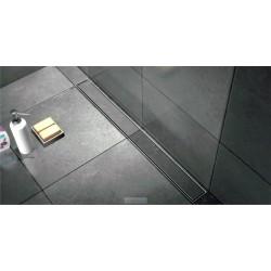 Caniveau de douche de  90 cm hauteur de 7 cm  avec cadre en inox avec pieds avec plaque de finition à carreler