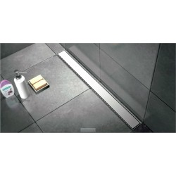 Caniveau de douche de  120 cm hauteur de 7 cm  avec cadre en inox  avec pieds avec plaque de finition pleine et pieds