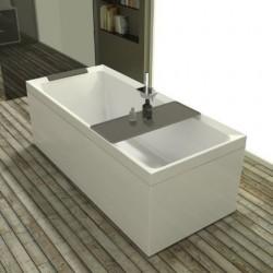 Novellini  diva 170x70 dynamic airjets télécommande avec  robinetterie sur la baignoire  blanc mat 4 tablier finition grain