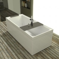 Novellini  diva 190x90 dynamic airjets télécommande avec  robinetterie sur la baignoire  blanc mat 4 tablier finition blanc ray