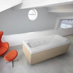 Novellini  sense 4 190x80 whirlpool désinfection télécommande  avec cadre blanc mat 4 tablier finition blanc mat
