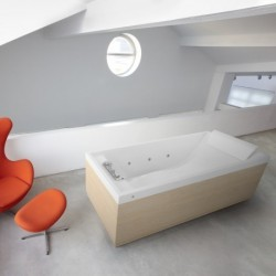 Novellini  sense 4 180x80 whirlpool désinfection télécommande  avec cadre blanc  4 tablier finition blanc