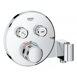 Grohe SmartControl thermostat encastré, 2 sorties, rond, avec support de douche integré