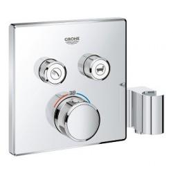 Grohe SmartControl thermostat encastré, 2 sorties, carré, avec support de douche integré