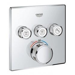 Grohe SmartControl thermostat encastré, 3 sorties, carré