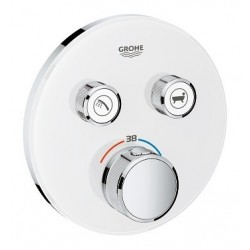 Grohe SmartControl thermostat encastré, 2 sorties, rond, verre Moon White