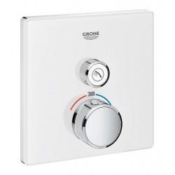 Grohe SmartControl thermostat encastré, 1 sortie, carré, verre Moon White