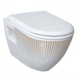 Banio design cuvette suspendue blanche  avec structure d'or avec lunette soft close