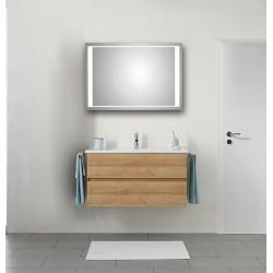 Pelipal Valencia Lavabo en céramique avec meuble (2 tiroirs) + Miroir avec éclairage LED - Riviera chêne