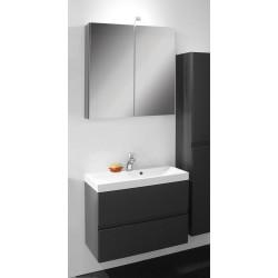 Banio Roxanna Set 80cm anthracite avec sous-meuble/tablette/armoire de toilette/éclairage