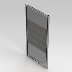 Banio-Avos porte pivotante avec profils alu chromés et 4mm verre transparent avec lignes blanches. Mesures 900x1850mm
