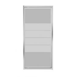 Banio-Avos paroi fixe avec profils alu chromés et 4mm verre transparent avec lignes blanches. Mesures 800x1850mm