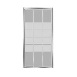 Banio-Avit porte coulissante de 3 parties avec profils alu chromés et 4mm verre transparent, lignes blanches - Mesures 100x185cm