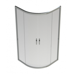 Banio-Belu quart de rond accès d'angle avec portes coulissantes, profils alu chromés, 6mm verre easy clean - Mes: 90x90x190cm