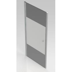 Banio-Hover Porte pivotante avec profils chromés polis, verre 6mm easy clean decor et système de levage de porte. Mes: 90x195cm