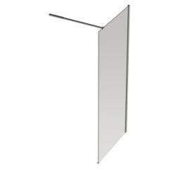 Banio Design Anne Paroi fixe avec verre transparent 6mm easy clean, barre stabilisatrice réglable 80-120cm