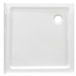 Banio Design Edes plus Receveur de douche en acrylique avec 2 bords - 80x80x6cm - Blanc
