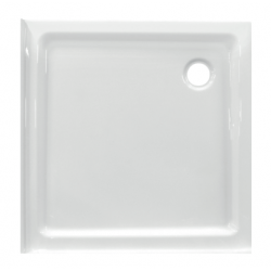 Banio Design Edes plus Receveur de douche en acrylique avec 3 bords - 80x80x6cm - Blanc
