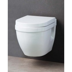 WC suspendu compact Design Shaba Blanc avec Abattant soft-close et dé-clipsable Quick Release