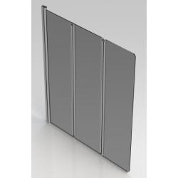 Banio Design Paroi de bain transparent 3 volets avec profils chromé - 130x140cm