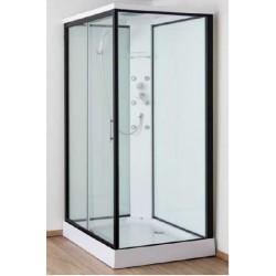Cabine de douche Ankara 90x120x226 cm Gauche - Noir et Blanc