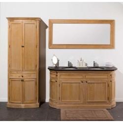 Banio-Flamant Meuble de salle de bain Chêne clair avec miroir et colonne - 160x55x86cm