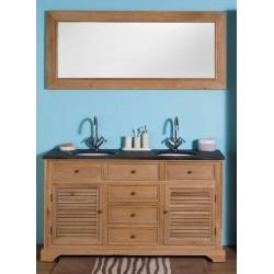 Banio-Alain Meuble de salle de bain avec grand miroir Chêne clair 150x55x86cm