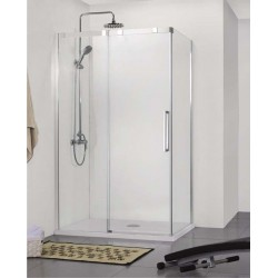 Porte de douche coulissante avec Paroi de douche Banio-Udo avec profils Chromé - 140x90cm