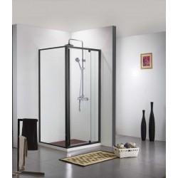 Porte de douche avec paroi de douche Banio-Urian Noir - 120x90 cm