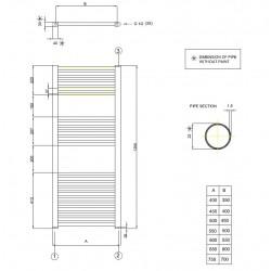 radiateur s che serviette 120x40 cm chauffage centrale banio. Black Bedroom Furniture Sets. Home Design Ideas