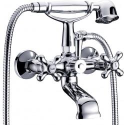 Ancona Robinet de bain/douche avec douchette et flexible complet - Chrome