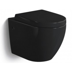 Banio-Gary WC suspendu compact sans bride avec abattant softclose et easyrelease - Noir brillant