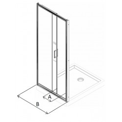 Porte de douche coulissante de 170 cm de large vitrage securit de 6 mm