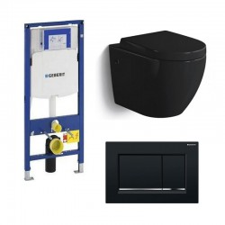 Geberit Pack WC suspendu Banio-Gary Noir brillant Compact avec abattant soft-close easyrelease complet